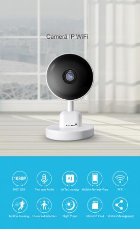 Baby Monitor V1, Rezolutie HD 1920 x 1080P, WiFi, Functia Night Vision, Aplicatie Telefon, Smartic®, alb [4]