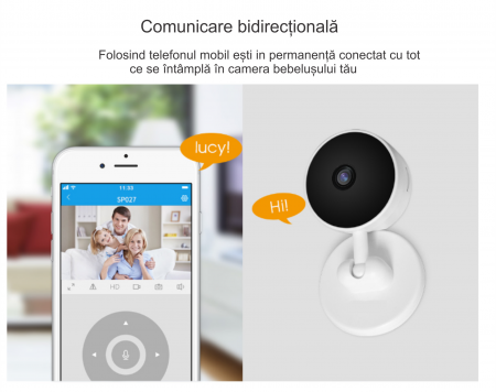 Baby Monitor V1, Rezolutie HD 1920 x 1080P, WiFi, Functia Night Vision, Aplicatie Telefon, Smartic®, alb [6]