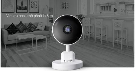 Baby Monitor V1, Rezolutie HD 1920 x 1080P, WiFi, Functia Night Vision, Aplicatie Telefon, Smartic®, alb [9]
