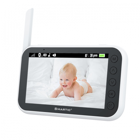 "Baby Monitor Video pentru bebelusi SMARTIC BM 100, rotire automata 360⁰, night vision, display 4.3"", Talk-Back, detectare temperatura, 8 cantece leagan1"