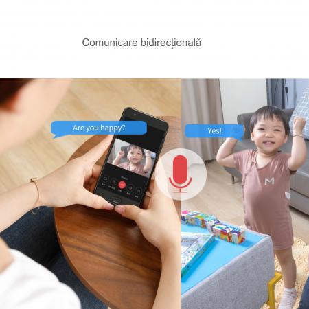 Baby Monitor Wireless cu picior flexibil, Rezolutie 1080P, WiFi, Night Vision, Aplicatie Telefon, Smartic®, alb [8]