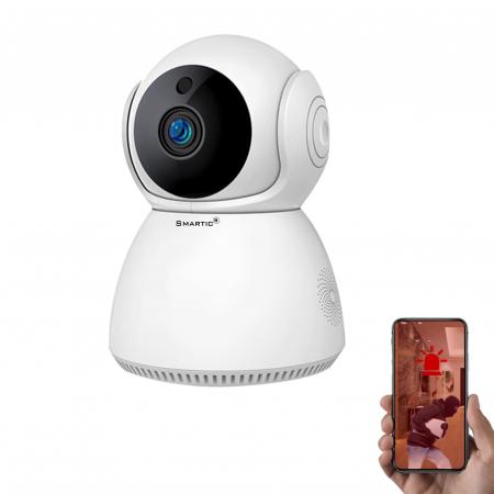 Baby Monitor Wireless Q9, Rezolutie HD 1920 x 1080P, WiFi, Functia Night Vision, Aplicatie Telefon, Smartic®, alb [0]