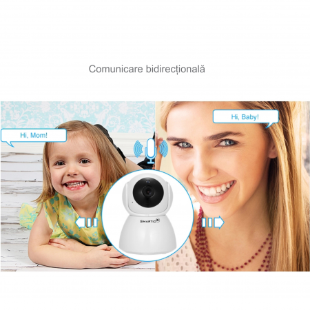 Baby Monitor Wireless Q9, Rezolutie HD 1920 x 1080P, WiFi, Functia Night Vision, Aplicatie Telefon, Smartic®, alb [9]