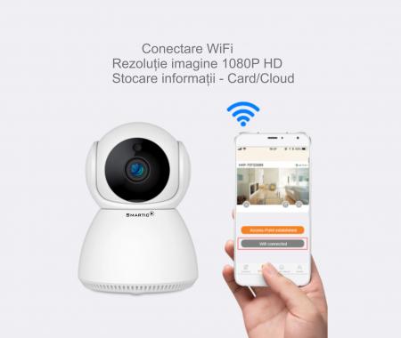 Baby Monitor Wireless Q9, Rezolutie HD 1920 x 1080P, WiFi, Functia Night Vision, Aplicatie Telefon, Smartic®, alb [8]