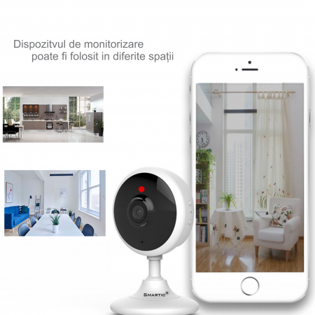 Baby Monitor Wireless V2, Rezolutie HD 1920 x 1080P, WiFi, Functia Night Vision, Aplicatie Telefon, Smartic®, alb [8]