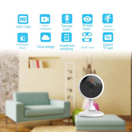 Baby Monitor Wireless V2, Rezolutie HD 1920 x 1080P, WiFi, Functia Night Vision, Aplicatie Telefon, Smartic®, alb [2]