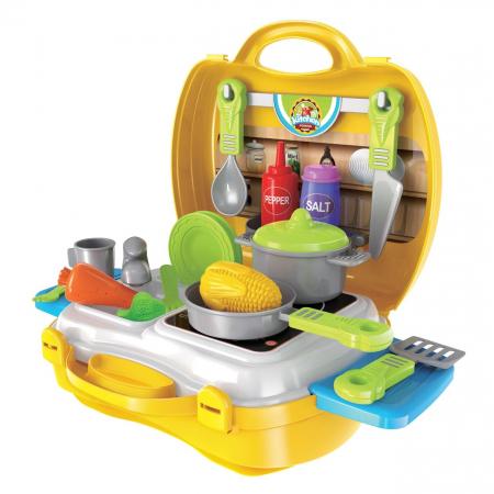 Bucatarie mobila copii in valiza cu accesorii SMARTIC®0