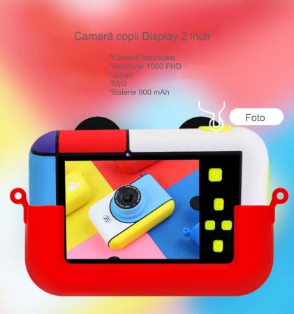 Camera foto/video pentru copii, Display 2 inch, Design Mickey Mouse, Rezolutie 1080P, Jocuri, MP3, Camera Duala, Smartic®, rosu4