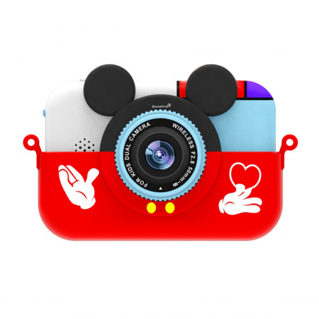 Camera foto/video pentru copii, Display 2 inch, Design Mickey Mouse, Rezolutie 1080P, Jocuri, MP3, Camera Duala, Smartic®, rosu0