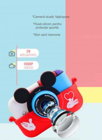 Camera foto/video pentru copii, Display 2 inch, Design Mickey Mouse, Rezolutie 1080P, Jocuri, MP3, Camera Duala, Smartic®, rosu5