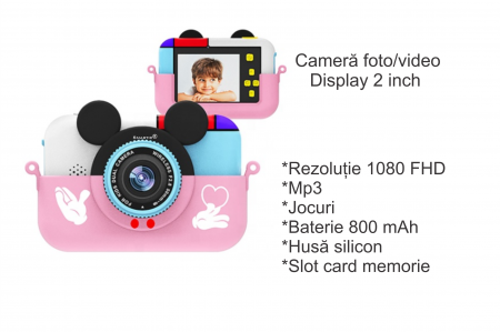 Camera foto/video pentru copii, Display 2 inch, Design Minnie Mouse, Rezolutie 1080P, Jocuri, MP3, Camera Duala, Smartic®, roz [5]