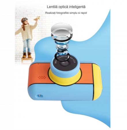 Camera mini digitala pentru copii cu lentila dubla de 24 MP, Display 2.4 inch, Functie Selfie,  Rezolutie 1920x1080 , Inregistrare Video, Foto Smartic®, multicolor3
