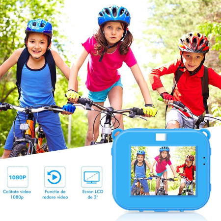 "Camera video sport SMARTIC®, camera digitala subacvatica pentru copii, 2.0"", full HD, albastru6"