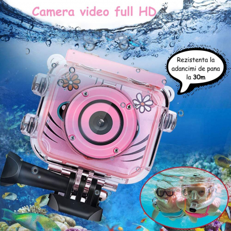 "Camera video sport SMARTIC®, camera digitala subacvatica pentru copii, 2.0"", full HD, roz5"