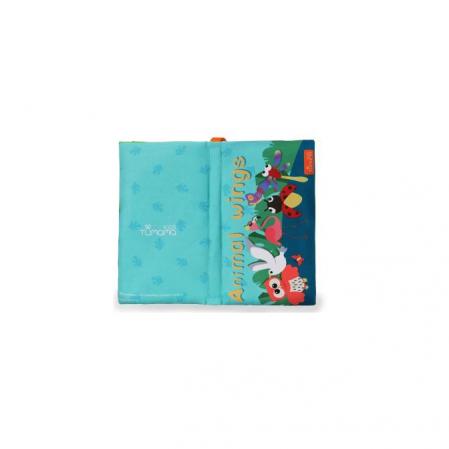 Carte interactiva fosnitoare Animal's Tails, TUMAMA®, 6 animalute colorate, pentru dentitia copiilor si a bebelusilor, material ecologic, albastru0