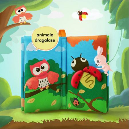 Carte interactiva fosnitoare Animal's Tails, TUMAMA®, 6 animalute colorate, pentru dentitia copiilor si a bebelusilor, material ecologic, albastru3