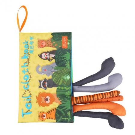 Carte interactiva fosnitoare Animal's Tails, TUMAMA®, 6 animalute colorate, pentru dentitia copiilor si a bebelusilor, material ecologic, galben0