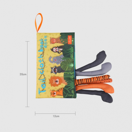 Carte interactiva fosnitoare Animal's Tails, TUMAMA®, 6 animalute colorate, pentru dentitia copiilor si a bebelusilor, material ecologic, galben [6]