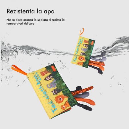 Carte interactiva fosnitoare Animal's Tails, TUMAMA®, 6 animalute colorate, pentru dentitia copiilor si a bebelusilor, material ecologic, galben7