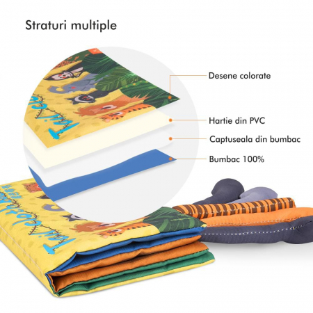 Carte interactiva fosnitoare Animal's Tails, TUMAMA®, 6 animalute colorate, pentru dentitia copiilor si a bebelusilor, material ecologic, galben1