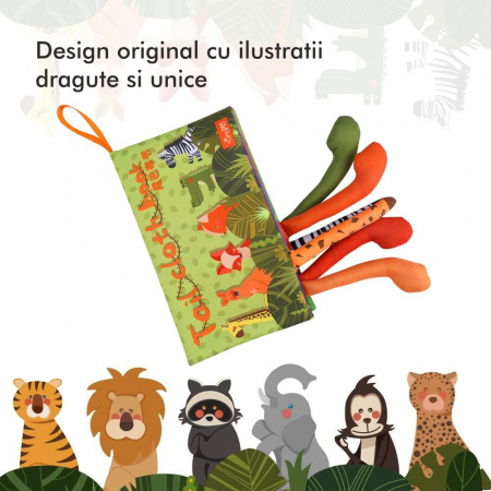 Carte interactiva fosnitoare Animal's Tails, TUMAMA®, 6 animalute colorate, pentru dentitia copiilor si a bebelusilor, material ecologic, verde5