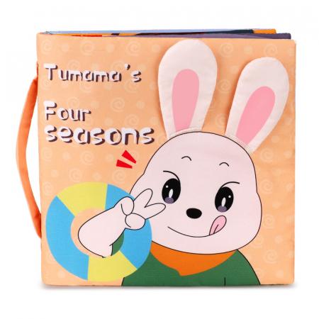 Carticica fosnitoare senzoriala Four Seasons Tumama®, pentru dentitia copiilor si a bebelusilor, varsta +3 luni, material bumbac, design iepuras, multicolor0