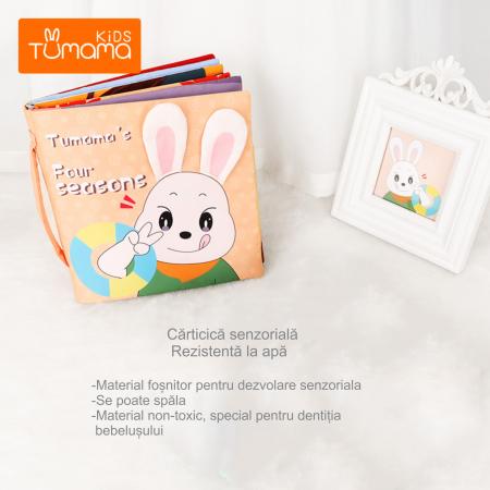 Carticica fosnitoare senzoriala Four Seasons Tumama®, pentru dentitia copiilor si a bebelusilor, varsta +3 luni, material bumbac, design iepuras, multicolor6