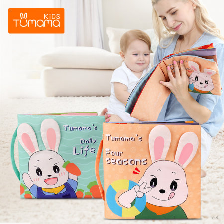 Carticica fosnitoare senzoriala Four Seasons Tumama®, pentru dentitia copiilor si a bebelusilor, varsta +3 luni, material bumbac, design iepuras, multicolor4