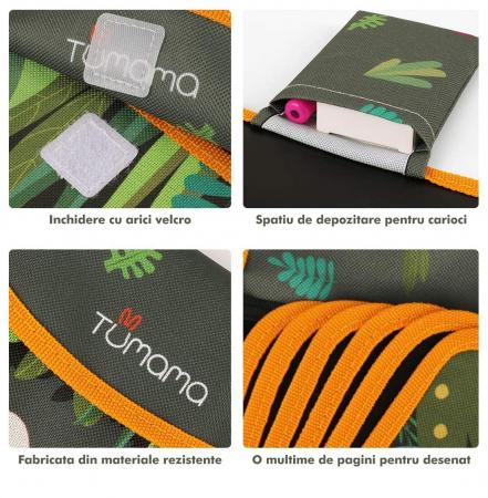 Carticica portabila cu 8 tablite Tumama®, pentru colorant si carioci, Jungla, negru4