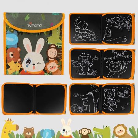 Carticica portabila cu 8 tablite Tumama®, pentru colorant si carioci, Jungla, negru [2]