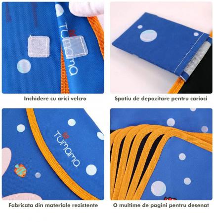 Carticica portabila cu 8 tablite Tumama®, pentru colorant si carioci, Ocean, albastru3