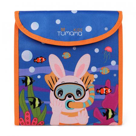 Carticica portabila cu 8 tablite Tumama®, pentru colorant si carioci, Ocean, albastru0
