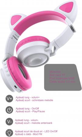 Casti audio luminoase cu urechi de pisica, Microfon Incorporat, Control Volum, Schimbare Culoare Lumina, Izolare Zgomot, Radio,Bluetooth,  Smartic®, alb/roz [7]
