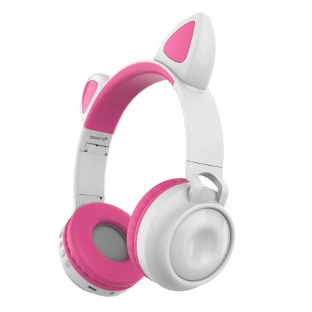 Casti audio luminoase cu urechi de pisica, Microfon Incorporat, Control Volum, Schimbare Culoare Lumina, Izolare Zgomot, Radio,Bluetooth,  Smartic®, alb/roz [0]