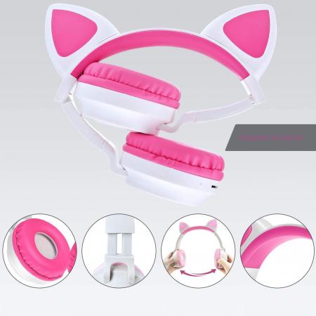 Casti audio luminoase cu urechi de pisica, Microfon Incorporat, Control Volum, Schimbare Culoare Lumina, Izolare Zgomot, Radio,Bluetooth,  Smartic®, alb/roz [4]