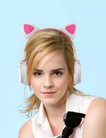 Casti audio luminoase cu urechi de pisica, Microfon Incorporat, Control Volum, Schimbare Culoare Lumina, Izolare Zgomot, Radio,Bluetooth,  Smartic®, alb/roz [1]