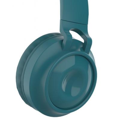 Casti audio luminoase cu urechi de pisica, Microfon Incorporat, Control Volum, Schimbare Culoare Lumina, Izolare Zgomot, Radio,Bluetooth,  Smartic®, albastru1