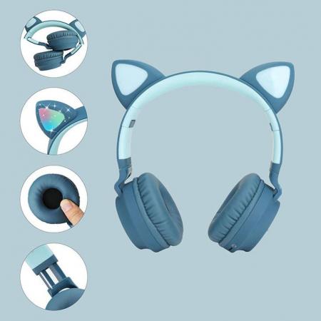 Casti audio luminoase cu urechi de pisica, Microfon Incorporat, Control Volum, Schimbare Culoare Lumina, Izolare Zgomot, Radio,Bluetooth,  Smartic®, albastru3