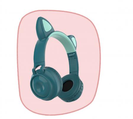 Casti audio luminoase cu urechi de pisica, Microfon Incorporat, Control Volum, Schimbare Culoare Lumina, Izolare Zgomot, Radio,Bluetooth,  Smartic®, albastru2