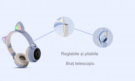 Casti audio luminoase cu urechi de pisica, Microfon Incorporat, Control Volum, Schimbare Culoare Lumina, Izolare Zgomot, Radio,Bluetooth,  Smartic®, albastru/gri4