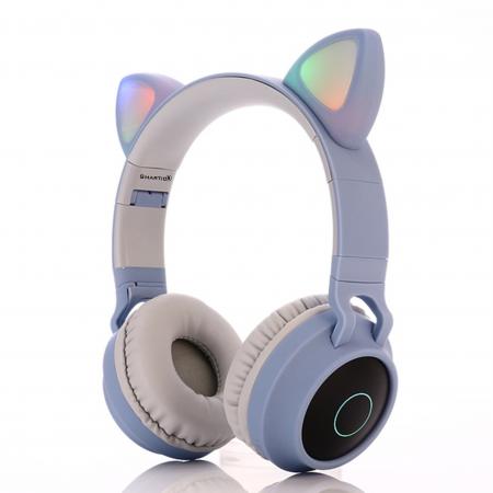 Casti audio luminoase cu urechi de pisica, Microfon Incorporat, Control Volum, Schimbare Culoare Lumina, Izolare Zgomot, Radio,Bluetooth,  Smartic®, albastru/gri1
