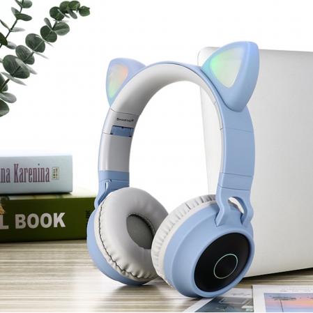 Casti audio luminoase cu urechi de pisica, Microfon Incorporat, Control Volum, Schimbare Culoare Lumina, Izolare Zgomot, Radio,Bluetooth,  Smartic®, albastru/gri2