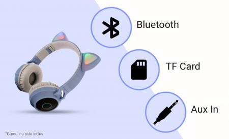 Casti audio luminoase cu urechi de pisica, Microfon Incorporat, Control Volum, Schimbare Culoare Lumina, Izolare Zgomot, Radio,Bluetooth,  Smartic®, albastru/gri5