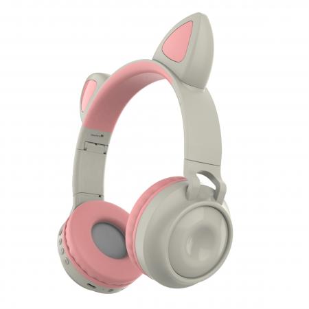 Casti audio luminoase cu urechi de pisica, Microfon Incorporat, Control Volum, Schimbare Culoare Lumina, Izolare Zgomot, Radio,Bluetooth,  Smartic®, gri0