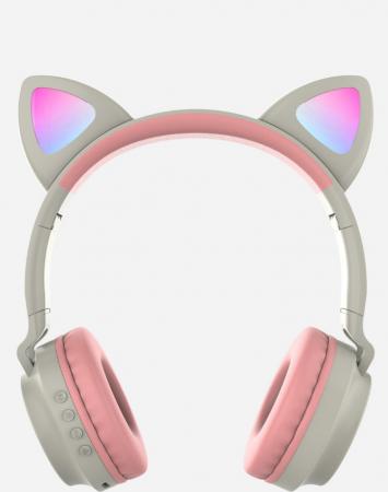 Casti audio luminoase cu urechi de pisica, Microfon Incorporat, Control Volum, Schimbare Culoare Lumina, Izolare Zgomot, Radio,Bluetooth,  Smartic®, gri1