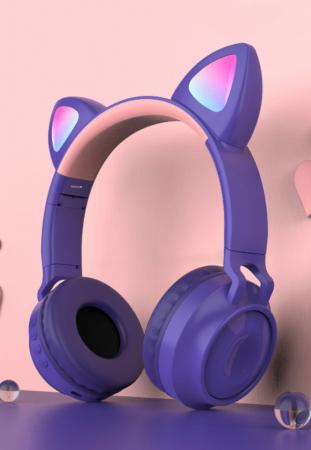 Casti audio luminoase cu urechi de pisica, Microfon Incorporat, Control Volum, Schimbare Culoare Lumina, Izolare Zgomot, Radio,Bluetooth,  Smartic®, mov1