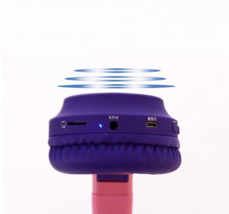 Casti audio luminoase cu urechi de pisica, Microfon Incorporat, Control Volum, Schimbare Culoare Lumina, Izolare Zgomot, Radio,Bluetooth,  Smartic®, mov5