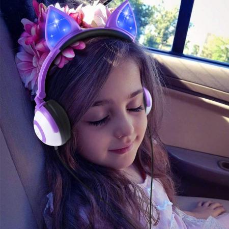 Casti audio luminoase cu urechi de pisica, Microfon Incorporat, Control Volum, Schimbare Culoare Lumina, Izolare Zgomot, Radio,Bluetooth,  Smartic®, mov6