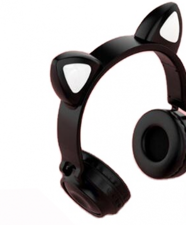 Casti audio luminoase cu urechi de pisica, Microfon Incorporat, Control Volum, Schimbare Culoare Lumina, Izolare Zgomot, Radio,Bluetooth,  Smartic®, negru [1]