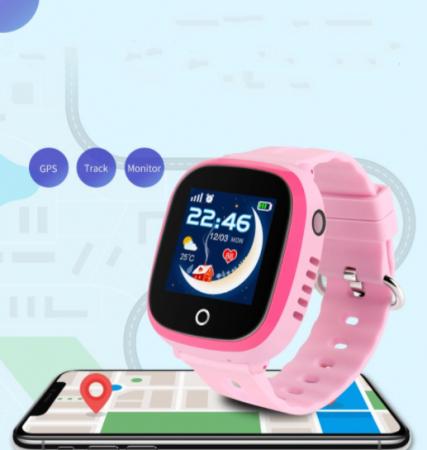 Ceas Smartwatch cu GPS pentru copii, Aplicatie Telefon, Impermeabil, Functie SOS, WiFi, SMARTIC®, Roz2